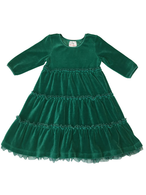 Forest Green Velour Tiered Twirl Dress