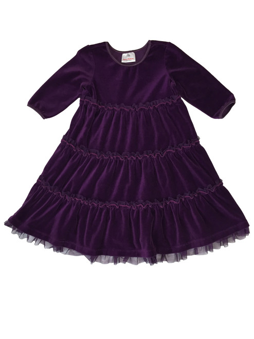 Purple Velour Tiered Twirl Dress
