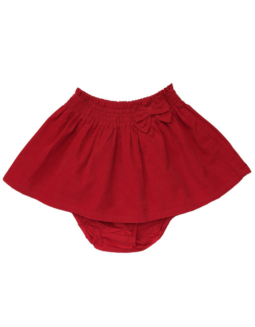 Red Bow Corduroy Skirt