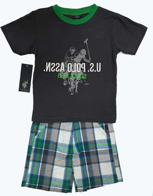 SOLD - Shirt and Plaid Shorts Set