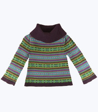 Purple Fair Isle  Turtleneck Sweater