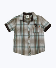 SOLD - Brown & Teal Button Down Shirt