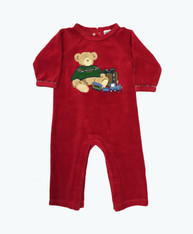 Baby Boy Velour Teddy Bear Romper