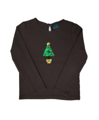 Chocolate Brown Holiday Sequin Tee