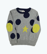 Gray & Blue Elbow-Patch  Sweater