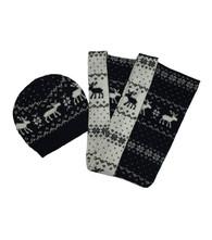 Black & White Moose Scarf and Hat Set
