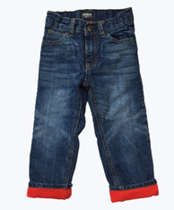 Fleece-Lined Dark Denim Jeans