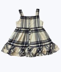 Cream & Navy Plaid Ruffle Jumper Dress