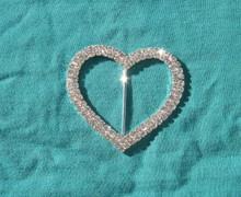 Tee shirt clip rhinestones heart large