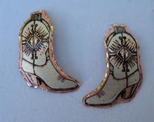 Earrings cowboy boot copper