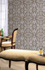 Swirls Wallpaper, Khaki / Silver