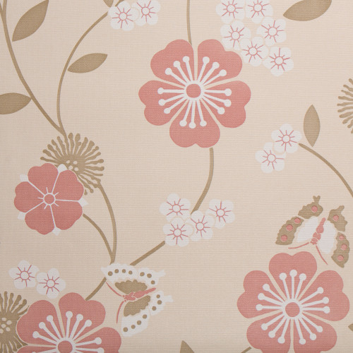 Flowers and Butterflies Wallpaper, Tan