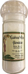 Kuakea White Hawaiian Sea Salt 3.17 oz. Refillable Grinder