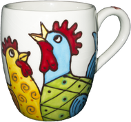 Barrel Mug Whimsical Chickens