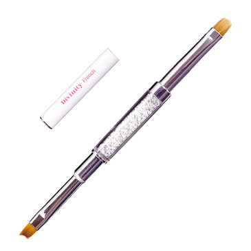 The perfect for Perfect Pink & Whites!. The Divinity French brush has two heads that  allow you to work fast and clean.. Comes complete with our beautiful diamond body and two caps to keep you bristles in perfect shape.. Divinity French Sculptor 2 Head Diamond Brush
