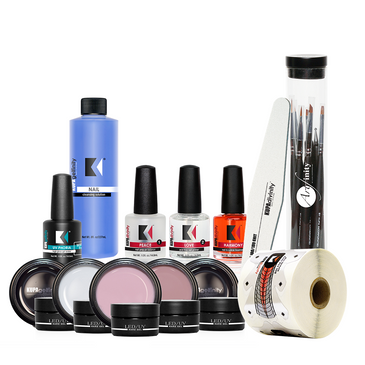Where else can you get the most incredible, affordable gel enhancement kit with a bonus nail art brush kit! Kupa of course! Get every component you need and more to create Gelfinity LED enhancements! KUPA quality for a low price!  Contents 1 each:  Hard Gel Pink 15ml  Hard Gel Clear Thin 15ml  Hard Gel Clear Thick 15ml  Hard Gel Cover Pink 15ml  Hard Gel Ultra White 15ml  Peace Nail Prep 1/2oz  Love Acidless Primer 1/2oz  Harmony Cuticle Oil 1/2oz  UV Phoria High Gloss Gel 1/2 oz  Gel Cleanser 8oz  Infinite Nail Form - 300pc  Beautiful Nails Shaper File  Artfinity Nail Art Brush Kit (8pcs)
