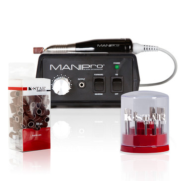 "ManiPro Original Black Bundle  ManiPro Original combines power and affordability in an economically sized 3"" x 5"" control box. The ManiPro Original continues to be one of the strongest, fastest, and most durable electric files available to the nail industry and features a lightweight friction grip-chuck handpiece, a built-in handpiece cradle, a strain relief cord, an illuminated power indicator, forward/reverse modes, and variable speeds from 4,500 to 15,000 RPM. Included: Mani-Pro® Handpiece, Power Supply, Variable Speed Control Box, 1-Sanding Band Mandrel, 10-Sanding Band. One year Limited Warranty Included!     CB-KIT-SILVER: The K-Star Carbide bit kit is available in a stylish cylindrical container that displays each bit for easy organization.   Silver K-Star Carbide Bit Kit Contains:   1. CSBX-32-002-S  Silver 3/32 Two Week Backfill Bit 2. CSBX-32-004-S  Silver 3/32 Four Week Backfill Bit 3. CSBX-32-006-S  Silver 3/32 Four Week Inverted Backfill Bit 4. CSBX-32-010-S  Silver 3/32 Cone 5. CSBX-32-015-S  Silver 3/32 Under Nail Cleaner 6. CSBX-32-018-S  Silver 3/32 Taperred Barrel 7. CSBX-32-102-S  Silver 3/32 Small Barrel - Fine 8. CSBX-32-204-S  Silver 3/32 Large Barrel - Medium 9. CSBX-32-024-S  Silver 3/32 VP Safety Bit 10. 3/32 Sanding Band mandrel with 10 Sanding Bands - Medium     SB-MED-100-U: Manufactured in the U.S.A. to Japanese standards. MANIPro bands come in a handy 100 pc. dispenser pack and are barrel shaped with cloth inner sleeves that allow them to be used in wet environments.  When used in combination with our New EASY-OFF Mandrel the bands hold firm while in use but are easily removed. Excellent for use in both manicure and pedicure service.  NOTE: Sanding bands are designed for single use only and cannot be disinfected"