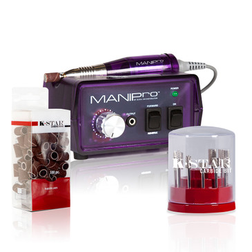 "MANIPro Original Purple Bundle  MANIPro Original combines power and affordability in an economically sized 3"" x 5"" control box. The MANIPro Original continues to be one of the strongest, fastest, and most durable electric files available to the nail industry and features a lightweight friction grip-chuck handpiece, a built-in handpiece cradle, a strain relief cord, an illuminated power indicator, forward/reverse modes, and variable speeds from 4,500 to 15,000 RPM. Included: MANIPro® Handpiece, Power Supply, Variable Speed Control Box, 1-Sanding Band Mandrel, 10-Sanding Band. One year Limited Warranty Included!     CB-KIT-SILVER: The K-Star Carbide bit kit is available in a stylish cylindrical container that displays each bit for easy organization.   Silver K-Star Carbide Bit Kit Contains:   1. CSBX-32-002-S  Silver 3/32 Two Week Backfill Bit 2. CSBX-32-004-S  Silver 3/32 Four Week Backfill Bit 3. CSBX-32-006-S  Silver 3/32 Four Week Inverted Backfill Bit 4. CSBX-32-010-S  Silver 3/32 Cone 5. CSBX-32-015-S  Silver 3/32 Under Nail Cleaner 6. CSBX-32-018-S  Silver 3/32 Taperred Barrel 7. CSBX-32-104-S  Silver 3/32 Small Barrel - Medium 8. CSBX-32-204-S  Silver 3/32 Large Barrel - Medium 9. CSBX-32-024-S  Silver 3/32 VP Safety Bit 10. 3/32 Sanding Band mandrel with 10 Sanding Bands - Medium     SB-MED-100-U: Manufactured in the U.S.A. to Japanese standards. MANIPro bands come in a handy 100 pc. dispenser pack and are barrel shaped with cloth inner sleeves that allow them to be used in wet environments.  When used in combination with our New EASY-OFF Mandrel the bands hold firm while in use but are easily removed. Excellent for use in both manicure and pedicure service.  NOTE: Sanding bands are designed for single use only and cannot be disinfected"