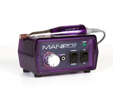 "KUPA's Original ManiPro Original PURPLE (RAZZBERRY) combines power and affordability in an economically sized 3"" x 5"" control box. It continues to be one of the strongest, fastest, and most durable electric files available to the nail industry and features a lightweight friction grip-chuck handpiece, a built-in handpiece cradle, a strain relief cord, an illuminated power indicator, forward/reverse modes, and variable speeds from 4,500 to 15,000 RPM. ManiPro Original Handpiece, Power Supply, Variable Speed Control Box, 1-Sanding Band Mandrel, 10-Sanding Bands. One year Limited Warranty Included!"