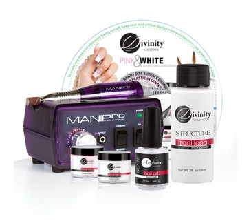 "The MANIPro Original Starter Bundle Includes 1 each:  MANIPro Original combines power and affordability in an economically sized 3"" x 5"" control box. The MANIPro Original continues to be one of the strongest, fastest, and most durable electric files available to the nail industry and features a lightweight friction grip-chuck handpiece, a built-in handpiece cradle, a strain relief cord, an illuminated power indicator, forward/reverse modes, and variable speeds from 4,500 to 15,000 RPM. Included: MANIPro® Handpiece, Power Supply, Variable Speed Control Box, 1-Sanding Band Mandrel, 10-Sanding Band. One year Limited Warranty Included!  DIVINE-PNK-1/2: Divinity Pink advanced acrylic polymer powder combines amazing clarity with dark pink pigment for color without compromise. (1/2 oz)  DIVINE-WHT-1/2: Divinity White advanced acrylic polymer powder is a dramatic deep dense white powder with amazing workability for perfect crisp clean smile lines without marblelizing or shadowing. (1/2 oz)  BN-TOP-GLAZE: Nail Art Top Coat Sealer, designed to seal and protect nailart without the heavy glaze that can destroy the detail of your 3D art and embellishments (nail charms).  BN-LQ-TRAD-2OZ: KUPA's ""Structure Liquid Monomer"" is a superior blend of EMA liquid that when used in combination with our ""Structure Acrylic Polymer"" leaves the nails with an ultra smooth finish that is easy enough to file by hand or super fast when you use any of our electric files. Use wet or dry Structure liquid provides a medium set up time that allows you to work the product with ease because it is not ratio sensitive.  Perfect for both the novice as well as the seasoned technician.  BN-DVD-1002: Divinity Pink & White DEMO DVD"