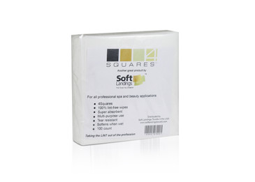 4Squares Towels by Soft Landings    These are the new and improved 4 x 4 lint-free wipes.  Each package contains 100 count of the 4 x 4 squares.    4Squares are truly a lint-free wipe.  Brand new to Soft Landings in 2013, this little wipe size 4×4 is virtually indestructible.  It may feel like paper at first touch but add your liquid of choice and watch how this softens up.  Then try to tear.  If it tears, it's not lint-free.  Best for dry/wet nail gel wiping, soak off pads, nail polish removal, eye makeup remover, brush cleaning, eye brow waxing, eye lash extensions and more.