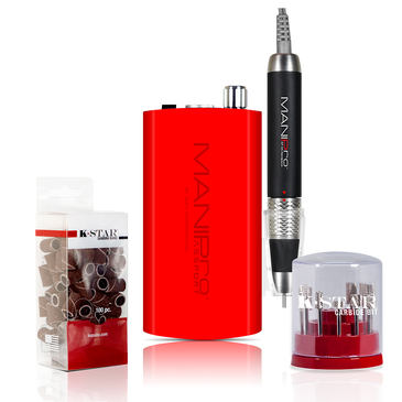 The MANIPro Passport® RED Bundle Includes 1 each:  MANIPro Passport® RED (Portable Electric Nail File)    Acetone Resistant Finish Control Box!   KUPA's MANIPro Passport®. This powerful, all new exclusive, portable electric nail file has been designed for the Professional Nail Technicians who demand power and portability.  The MANIPro Passport® features a light weight battery powered *Acetone Resistant Finish* control box. This unit can provide anywhere from 8 to 10 hours of use per charge in either 110v or 220v.  The MANIPro Passport® comes complete with a stainless steel belt clip and a plastic handpiece holster which can snap on either side of the control box.  Control box is also available in Purple, Red or White. Full one year parts and labor warranty with your Kupa E-file!  CONTENTS:  * KP-55 Handpiece * Passport® Portable Control Box * Passport® Charging System * Stainless Steel Belt Clip * Plastic Handpiece Holster * Instruction Manual  FEATURES:  * Ultra Smooth / Quiet / Vibration Free * Acetone Resistant Finish Control Box * Compact Light Weight * Portable/Rechargeable * 8-10 Hours of Battery Life * Variable Speed Control * Forward/ Reverse Button * Illuminated Power Indicator * High Torque / 30,000 RPM * Quick Charge System - 2 Hours Full Charge * Automatic switching 110/220 Volts * Limited One Year Warranty  Compatible Handpieces:   U-Power Model:  * UG-12 (UP200 Handpiece) * UG-14 (UPower 2G & UP200-V Handpiece)  MANIPro Model:   * KP-36 (Supermax Handpiece) * KP-50 (MANIPro Handpiece) * KP-55 (MANIPro Handpiece)     The K-Star Carbide bit kit is available in a stylish cylindrical container that displays each bit for easy organization.  Silver K-Star Carbide Bit Kit Contains:   1. CSBX-32-002-S  Silver 3/32 Two Week Backfill Bit 2. CSBX-32-004-S  Silver 3/32 Four Week Backfill Bit 3. CSBX-32-006-S  Silver 3/32 Four Week Inverted Backfill Bit 4. CSBX-32-010-S  Silver 3/32 Cone 5. CSBX-32-015-S  Silver 3/32 Under Nail Cleaner 6. CSBX-32-018-S  Silver 3/32