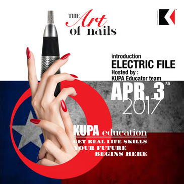 Kupa Inc. Electric File Course At the Best lil' Nail Show TEXAS  Humble Civic Center Arena (Non Union) 8233 Will Clayton Pkwy, Humble, TX 77338 (Greater Houston area)   Monday April 3rd, 2017 (8AM-5PM, 1 HR Break for Lunch)  ROOM TBA*      Perfect your skills with Kupa Star Educator Ann Chang during this intense 8 hour hands-on training and demonstration. Upgrade your skills, offer more electric file services and leave with confidence.     This class is perfect for anyone that wants to have total confidence using an E-file in any salon situation.  In addition you will learn all aspects of E-files, how bits are made, bit finishes and shapes, how to choose and care for your machine, sanitation procedures, safe electric filing techniques including backfills and pink and white applications.      Each student will receive a Foundation Kit (Kupa line of acrylic products), and 10 Piece Carbide Bit Kit (Student kit is valued at $150 worth of product).  Upon completion of the class each student will receive a KUPA E-file Class Certification.    Student is asked to bring their own E-file to class, light and practice hand.  If you do not have a practice hand you may practice on yourself for the hands on portion of the class.  There will be a 1 Hour Break for Lunch.