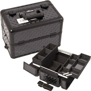 """ALL Black Diamond Professional Nail Case (E3302DMAB)     From KUPA this new Interchangeable series Professional Nail Case is attachable to any """"E"""" series rolling case.   This line will allow customer to mix and match any """"E"""" series case according to their needs.  The most affordable way to customize your beauty case.  Made from high quality aluminum finish and construction with reinforced steel corner for extra durability.  Beautiful new black diamond pattern finish with black aluminum trimming.  Heat resistant exterior material keeps the case cool and protects your cosmetics or nail products.  Wider opening at top of case for easy access.  Three extendable trays with spacious interior either removable custom tray dividers.  Large center storage compartment with removable/ adjustable dividers.  Upgraded slider feature for both trays.  Heavy duty handle for added comfort and grip.  Easy to clean interior.  Removable and adjustable shoulder strap. Secure easy close latches with key locks.       Large tray dimension: (LxWxH)  12.25"""" x 3.5"""" x 3""""  Small tray dimension: (LxWxH)   12.25"""" x 3.5"""" x 1.25"""" each  Space underneath trays when closed: (LxWxH)  14"""" x 8.75"""" x 5.5""""   Overall case dimensions:  (LxWxH)   14.5"""" x 9.5"""" x 9.75"""""""