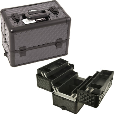 """ALL Black Diamond II Professional Nail Case (E3304DMAB)     From KUPA this new Interchangeable series Professional Nail Case is attachable to any """"E"""" series rolling case.   This line will allow customer to mix and match any """"E"""" series case according to their needs.  The most affordable way to customize your beauty case.  Made from high quality aluminum finish and construction with reinforced steel corners for extra durability.  Beautiful new black diamond pattern finish with black aluminum trimming.  Heat resistant exterior material keeps the case cool and protects your cosmetics or nail products.  Wider opening at top of case for easy access.  Six accordion extendable trays with spacious interior with adjustable twelve drawers.  Large center storage compartment with removable/ adjustable dividers.  Heavy duty handle for added comfort and grip.  Easy to clean interior.  Removable and adjustable shoulder strap. Secure easy close latches with key locks.       Trays dimension: (LxWxH)  12.25"""" x 3.5"""" x 1.5"""" each  Space underneath trays when closed: (LxWxH)  14"""" x 8.75"""" x 4.75""""   Overall case dimensions:  (LxWxH)   14.5"""" x 9.5"""" x 10.5"""""""