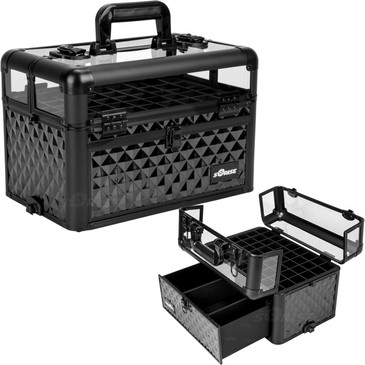 """ALL Black Diamond Clear Top Professional Nail Case (E3310DMAB)     From KUPA this new Interchangeable series Professional Nail Case is attachable to any """"E"""" series rolling case.   This line will allow customer to mix and match any """"E"""" series case according to their needs.  The most affordable way to customize your beauty case.  Made from high quality aluminum finish and construction with reinforced steel corners for extra durability.  Beautiful new black diamond pattern finish with black aluminum trimming.  Removable liquid foundation holders on top of case with clear panel for easy view (up to 54 bottles).  Bottom slide out drawer to hold nails and other beauty accessories with adjustable dividers.  Heavy duty handle for added comfort and grip.  Easy to clean interior.  Two secure easy close latches with key locks.       Top compartment dimension: (LxWxH)  13.25"""" x 8.75"""" x 4.25"""" each  Slide out drawer dimension: (LxWxH)  11.5"""" x 8"""" x 3.75""""   Overall case dimensions:  (LxWxH)   14.5"""" x 9.5"""" x 11"""""""