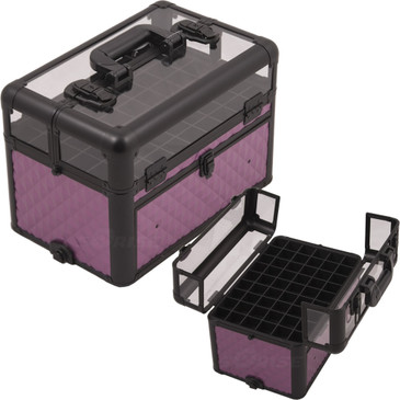 """Purple Diamond Clear Top Professional Nail Case (E3310DMPLB)     From KUPA this new Interchangeable series Professional Nail Case is attachable to any """"E"""" series rolling case.   This line will allow customer to mix and match any """"E"""" series case according to their needs.  The most affordable way to customize your beauty case.  Made from high quality aluminum finish and construction with reinforced steel corners for extra durability.  Beautiful new purple diamond pattern finish with black aluminum trimming.  Removable liquid foundation holders on top of case with clear panel for easy view (up to 54 bottles).  Bottom slide out drawer to hold nails and other beauty accessories with adjustable dividers.  Heavy duty handle for added comfort and grip.  Easy to clean interior.  Two secure easy close latches with key locks.       Top compartment dimension: (LxWxH)  13.25"""" x 8.75"""" x 4.25""""   Slide out drawer dimension: (LxWxH)  11.5"""" x 8"""" x 3.75""""   Overall case dimensions:  (LxWxH)   14.5"""" x 9.5"""" x 11"""""""