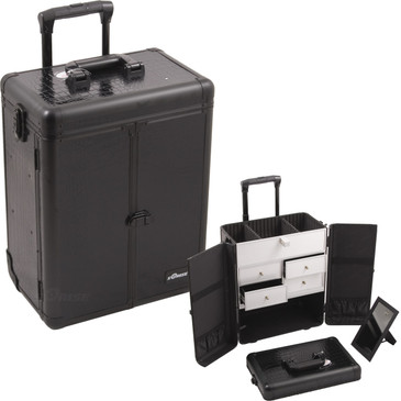 """Black Croc Rolling Professional Nail Case (E6305CRAB)     From KUPA this new Interchangeable series Professional Nail Case is attachable to any """"E"""" series rolling case.  This line will allow customer to mix and match any """"E"""" series case according to their needs.  The most affordable way to customize your beauty case.  Upgradable to any """"E"""" series top cases.  Made from high quality aluminum finish and construction with reinforced steel corners for extra durability, french door style opening.  Beautiful new black crocodile printing texture finish with black aluminum trimming.  Wider opening top compartment for each access and adjustable dividers.  Removable mirror under the case lid.  Heat resistant exterior material keeps the case cool and protects your cosmetics or nail products.  Retractable/ telescoping handle for extra durability with inline skate wheels for easy rolling.  Heavy duty handle for added comfort and grip.  Four aluminum finished drawers.  Easy to clean interior.  Rubber-band attachment & pouch on each door for brushes and other beauty accessories.  Locks and keys for added security.        Telescoping handle folly extended height: 39""""  Top storage dimension: (LxWxH)  13.75"""" x 7"""" x 3""""   Drawers dimension: (LxWxH)  6.5"""" x 5.75"""" x 2.5""""   Hollow space below drawers dimension:  (LxWxH)  14"""" x 8.75"""" x 6""""  Overall case dimensions:  (LxWxH)   14.5"""" x 9.5"""" x 20.75"""""""