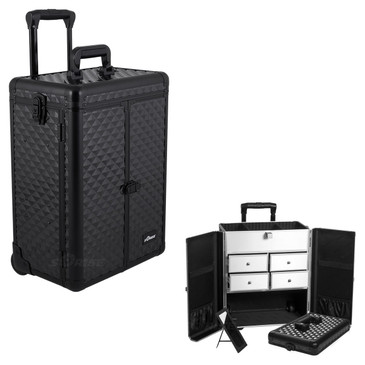 """Black Diamond Rolling Professional Nail Case (E6305CRAB)     From KUPA this new Interchangeable series Professional Nail Case is attachable to any """"E"""" series rolling case.  This line will allow customer to mix and match any """"E"""" series case according to their needs.  The most affordable way to customize your beauty case.  Upgradable to any """"E"""" series top cases.  Made from high quality aluminum finish and construction with reinforced steel corners for extra durability, french door style opening.  Beautiful new black diamond pattern finish with black aluminum trimming.  Wider opening top compartment for each access and adjustable dividers.  Removable mirror under the case lid.  Heat resistant exterior material keeps the case cool and protects your cosmetics or nail products.  Retractable/ telescoping handle for extra durability with inline skate wheels for easy rolling.  Heavy duty handle for added comfort and grip.  Four aluminum finished drawers.  Easy to clean interior.  Rubber-band attachment & pouch on each door for brushes and other beauty accessories.  Locks and keys for added security.          Telescoping handle folly extended height: 39""""  Top storage dimension: (LxWxH)  13.75"""" x 7"""" x 3""""   Drawers dimension: (LxWxH)  6.5"""" x 5.75"""" x 2.5"""" each  Hollow space below drawers dimension:  (LxWxH)  14"""" x 8.75"""" x 6""""  Overall case dimensions:  (LxWxH)   14.5"""" x 9.5"""" x 20.75"""""""