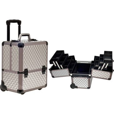 """Grey Diamond Trolley Rolling Professional Nail Case (C6033DMGY)     From KUPA this new high quality aluminum finish and construction with reinforced steel corners for extra durability..   The most affordable way to customize your beauty case.  Beautiful new grey diamond pattern finish with gun metal aluminum trimming.  Wider opening top compartment for each access.  Heat resistant exterior material keeps the case cool and protects your cosmetics or nail products.  Eight easy slide extendable trays with spacious interior with removable custom tray dividers.  Large center storage compartment with removable/ adjustable dividers.  Heavy duty handle for added comfort and grip. Two secure easy close latches with key locks.  Retractable/ telescoping handle for extra durability with inline skate wheels for easy rolling.      Telescoping handle fully extended height: 39.25""""  Extendable trays dimension: (LxWxH)  11.75"""" x 3.5"""" x 1.5""""   Large Center Compartment dimension: (LxWxH)  13"""" x 8.25"""" x 7.25"""" each  Overall case dimensions:  (LxWxH)   14"""" x 10.75"""" x 18.25"""""""