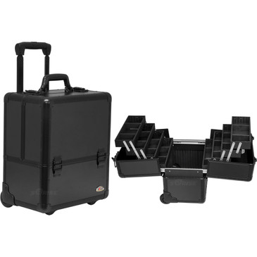 "Black Smooth Trolley Rolling Professional Nail Case (C6033PPAB)    From KUPA this new high quality aluminum finish and construction with reinforced steel corners for extra durability..   The most affordable way to customize your beauty case.  Beautiful new smooth black pattern finish with black aluminum trimming.  Wider opening top compartment for each access.  Heat resistant exterior material keeps the case cool and protects your cosmetics or nail products.  Eight easy slide extendable trays with spacious interior with removable custom tray dividers.  Large center storage compartment with removable/ adjustable dividers.  Heavy duty handle for added comfort and grip. Two secure easy close latches with key locks.  Retractable/ telescoping handle for extra durability with inline skate wheels for easy rolling.       Telescoping handle fully extended height: 39.25""  Extendable trays dimension: (LxWxH)  11.75"" x 3.5"" x 1.5""   Large Center Compartment dimension: (LxWxH)  13"" x 8.25"" x 7.25"" each  Overall case dimensions:  (LxWxH)   14"" x 10.75"" x 18.25"""