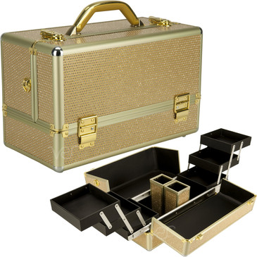 """Gold Krystal Professional Nail Case (VK3201KLGL)     From KUPA this new high quality aluminum finish and construction with reinforced steel corners for extra durability professional nail case.  Beautiful new gold krystal finish with gold aluminum trimming and upgraded inner lining.  Six extendable easy-slide accordion trays with spacious interior.  Spacious lower compartment.  Heat resistant exterior material keeps the case cool and protects your cosmetics or nail products.  Removable and adjustable shoulder strap.  Swivel handle top, easy to clean interior, two brush holder cup.  Two secure easy to close latches with key locks.       Trays dimension:  (LxWxH)    6.25"""" x 5.25"""" x 1.25""""   Space underneath trays when closed dimension: (LxWxH)  14.38"""" x 7"""" x 2.75""""   Overall case dimensions:  (LxWxH)   15"""" x 7.5"""" x 10.5"""""""