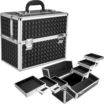 """Black 3D Diamond Professional Nail Case (PT4001TDBK)     From KUPA this new high quality aluminum finish and construction with reinforced steel corners for extra durability professional nail case.  Beautiful new black 3d diamond finish with silver aluminum trimming.  Six extendable easy-slide accordion trays with spacious interior.  Spacious lower compartment.  Heat resistant exterior material keeps the case cool and protects your cosmetics or nail products.  Swivel handle top.  Two secure easy to close latches with key locks.        Trays dimension:  (LxWxH)    6.75"""" x 5.75"""" x 1""""   Space underneath trays when closed dimension: (LxWxH)  12.5"""" x 7.5"""" x 5.75""""   Overall case dimensions:  (LxWxH)   13"""" x 8"""" x 11.75"""""""