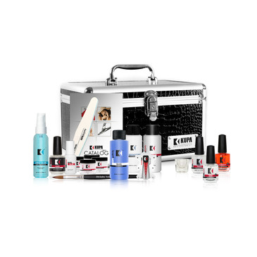 KUPA Introduces the Divinity Acrylic Starter Kit.  The perfect Acrylic Nail System bundled with the Official Kupa Professional Nail Case.       Includes one each:     Divinity Structure Odorless Liquid Monomer (2oz)  -  BN-ODORLS-2OZ  Divinity Structure Traditional Liquid Monomer (2oz) -  BN-LQ-TRAD-2OZ  Divinity Nail System No. 8 Brush -  BN-BRSH-8OV (Not sold separately)  Divinity Quick Set Nail Glue (5gm) Brush-On  - BN-GLUE-5GM  Divinity Harmony Cuticle Oil (1/2oz)  - BN-HARMONY-HLFZ  Divinity Love Acidless Primer (1/2oz)  -  BN-LOVE-HLFZ  Divinity Peace Nail Prep (1/2oz)  - BN-PEACE-HLFZ  Pack of 20 Clear Nail Tips  - BN-TIP-CLR-20PK  (Not sold separately)  Clear Glass Dappen Dish  - DAPPEN GLASS-CL  Divinity Advanced Acrylic Polymer (2oz) CLEAR   -  DIVINE-CLR-2Z  Divinity Advanced Acrylic Polymer (2oz) WHITE  -  DIVINE-WHT-2Z  Divinity Advanced Acrylic Polymer (2oz) PINK - DIVINE-PNK-2Z  Divinity Advanced Acrylic Polymer (2oz) NATURAL - DIVINE-NAT-2Z  Divinity Infinite Sculpting Forms (10 Pack)  -  Sold by the 300 piece Roll BN-FORM-UNIV  Divinity Shaper File 100/180 (1) -  BN-FILE 100-180  ArtFinity Glaze Top Coat Sealer (1/2oz) - BN-TOP-GLAZE     GelFinity Nail Cleanser Solution (2oz) -  Sold in 8oz Refill GEL-CLNSER-8Z  Arid Blue Hand Sanitizer (2oz)  - Sold in 8oz Pump Bottle HAND SANITIZER  Official KUPA Professional Nail Case  - KUPA-CASE
