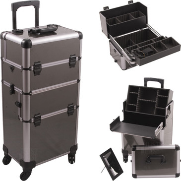 """Gun Metal Professional 4-Wheel Nail Case  (HK6501ASBY)    From KUPA this is the Official Educator Professional Nail Case.  2-in-1 case, each portion can be used separately.  360 degree 4-wheel rolling system.  High quality aluminum finish and construction with reinforced steel corners for extra durability.  Beautiful new gun metal fiber finish with gray aluminum trimming.  Heat resistant exterior material keeps the case cool and protects your Nail products.  Retractable/ telescoping handle for extra durability with inline skate wheels for easy rolling.  Heavy duty handle for added comfort and grip.  Extra lid with removable mirror for bottom nail case.  Three easy slide extendable trays with spacious interior with removable custom tray dividers.  Lock and key system for added security.  Removable tray with adjustable dividers in lower storage.     Telescoping handle fully extended height: 40""""  Large extendable tray dimension (LxWxH)  12.25"""" x 4"""" x 3""""  Small extendable tray dimension (LxWxH)  12.25"""" x 4"""" x 1.25"""" each  Top empty space below trays dimension (LxWxH)  14"""" x 8.25"""" x 5.25""""   Top section case dimension  (LxWxH)   14.5"""" x 9.5"""" x 10""""  Removable tray bottom section dimension (LxWxH)  13.75"""" x 8.5"""" x 3.75""""   Bottom hollow space dimension (LxWxH)  14"""" x 8.75"""" x 12.75""""  Bottom case overall dimension (LxWxH)  14.5"""" 9.5"""" x 21.25""""  Overall case dimension (LxWxH)  14.5"""" x 9.5"""" x 31.25"""""""