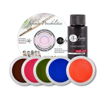 Autumn Inspired Acrylic Color Kit includes one each:    2 oz 3D Liquid Monomer  3D Acrylic Powder Color ( Milk Chocolate #90211 )  3D Acrylic Powder Color ( Very Berry #90202 )  3D Acrylic Powder Color (Relish #90203 )  3D Acrylic Powder Color ( Deep Blue Sea #90209 )  3D Acrylic Powder Color ( Orange Slice #90400 )  Autumn Rose DVD