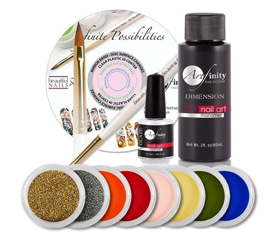 The Artfinity Student Kit Include 1 each:  3D Liquid Acrylic Monomer (BN-3D-LQ-2OZ) 3D Acrylic Brush (BN-BRSH-3D) Artfinity Glaze Topcoat (BN-TOP-GLAZE) Deep Blue Sea 3D Sculpting Acrylic Colored Powder (CLR-PWDR-90209) Relish 3D Sculpting Acrylic Colored Powder (CLR-PWDR-90203) Pineapple 3D Sculpting Acrylic Colored Powder (CLR-PWDR-90302) Romantic Rose 3D Sculpting Acrylic Colored Powder (CLR-PWDR-90308) Cherry Tomato 3D Sculpting Acrylic Colored Powder (CLR-PWDR-90210) Pumpkin 3D Sculpting Acrylic Colored Powder (CLR-PWDR-90204) Twinkle Twinkle Glitter (BN-GLTR-92200) Pot of Gold Glitter (BN-GLTR-92202) Autumn Rose DVD (BN-DVD-1001 (AUTUMN ROSE))