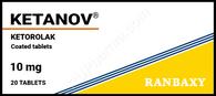 KETANOV®, (aka Ketorolac Tromethamine, Toradol, Acular, Sprix) 20-100pills/pack, 10ampuls/pack, 10mg/pill, 30mg(1ml)/ampul
