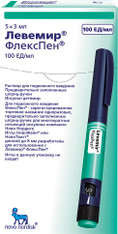 LEVEMIR FLEXPEN® (Insulin detemir), 100UI/ml, 3ml/pen, 5pens/pack
