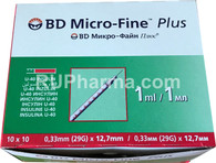 SYRINGES (Becton Dickinson USA), single use, 1-2ml, 0,33-0,6mm, 23-29G, 12,7-30mm, 10 syringes/pack