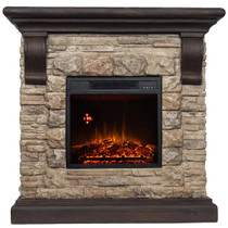 Comfort Glow QSF8212R Yorkshire Castle Stone Mantel with IR Quartz Electric Fireplace