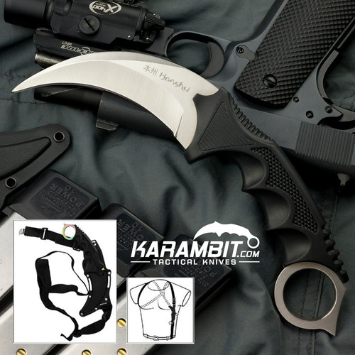 Honshu Silver Karambit w/Shoulder Harness