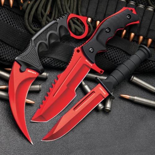 CSGO Counter Strike Red Fixed Blade Knife Set (17 BV448)
