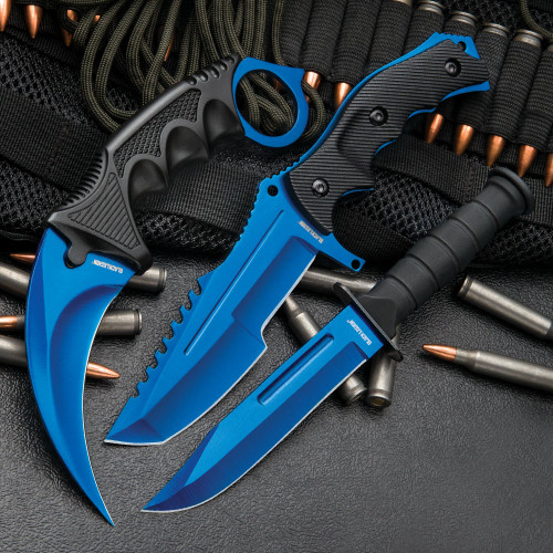 CSGO Counter Strike Blue Fixed Blade Knife Set