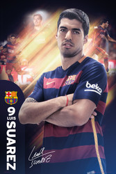 BARCELONA FC, Suarez Official Soccer Player Poster 2015/16, #130