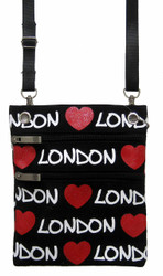 Robin Ruth Charlie Strappy with Red Hearts Passport Holder